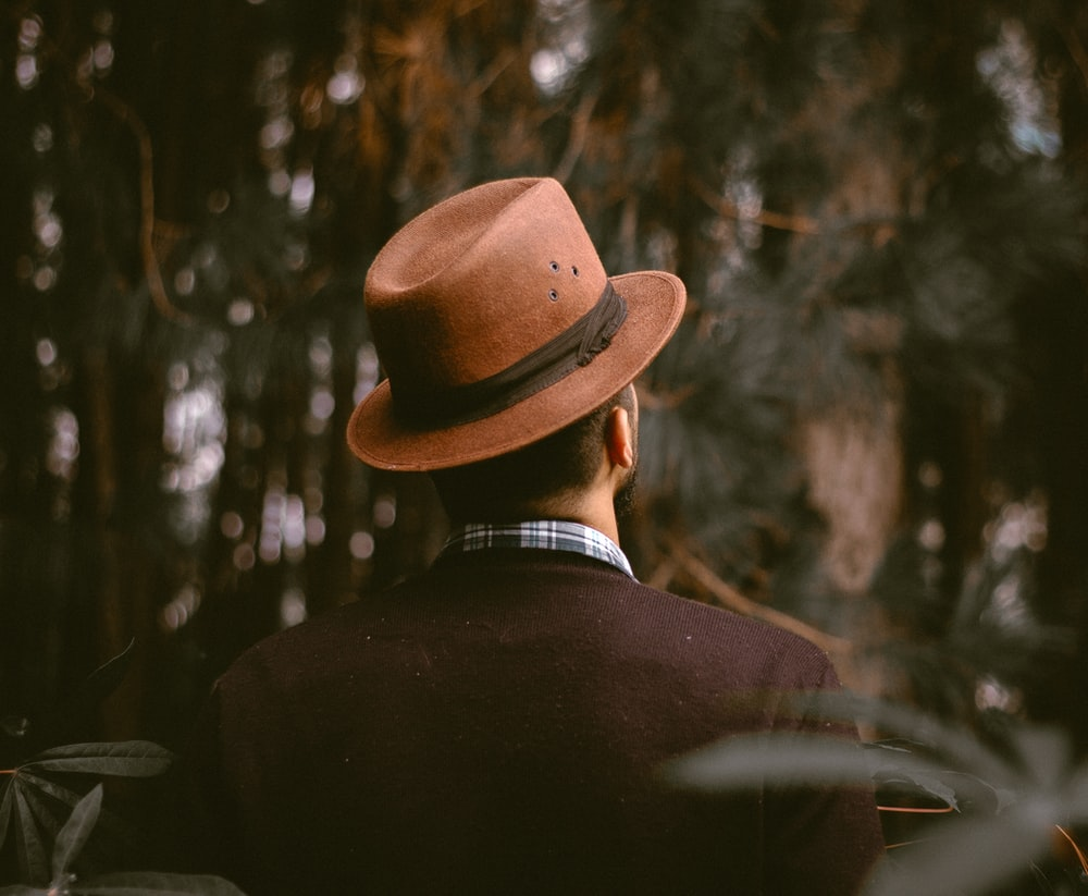 person wearing brown fedora hat facing trees