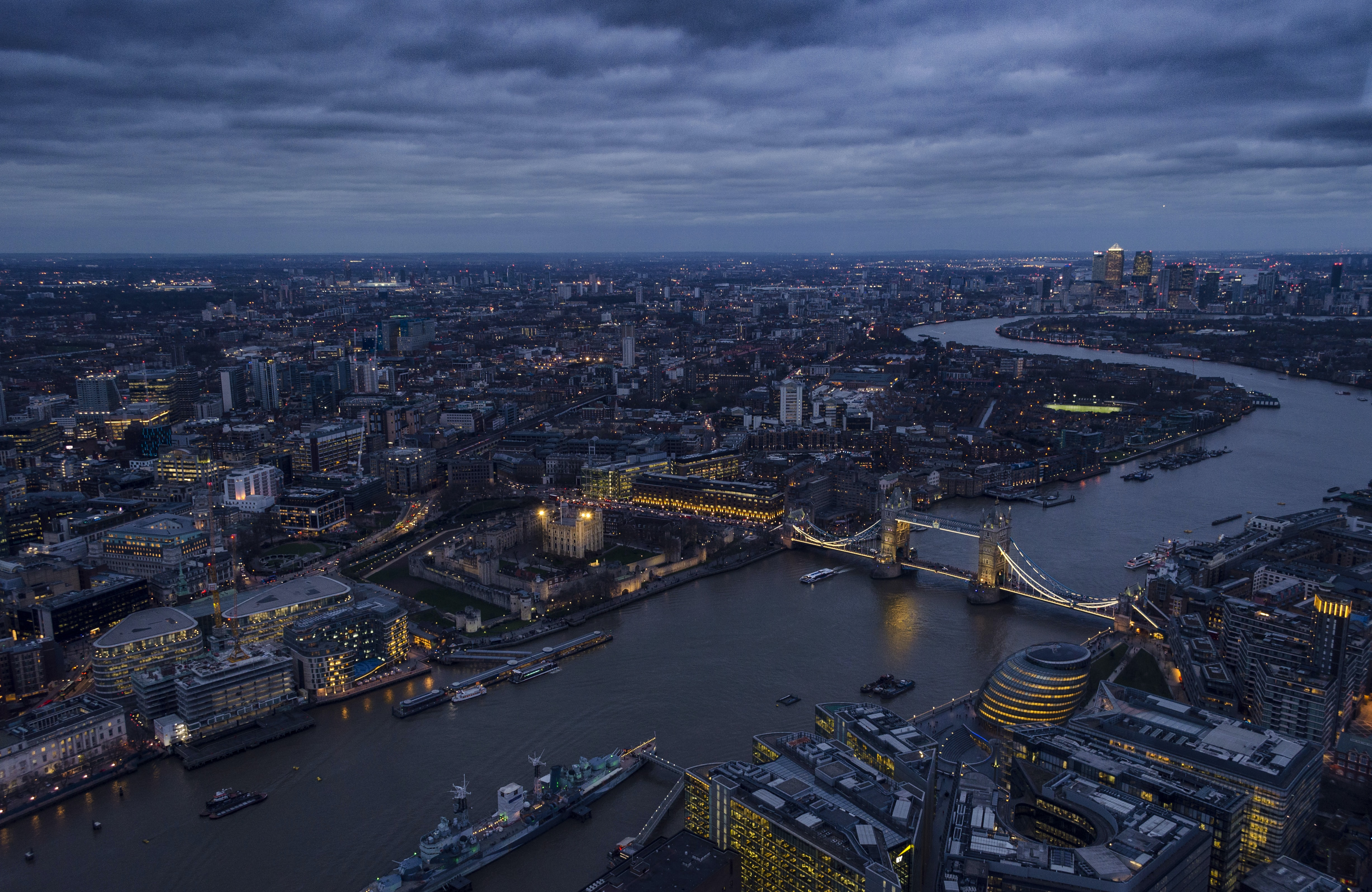 aerial photography of london from the shard