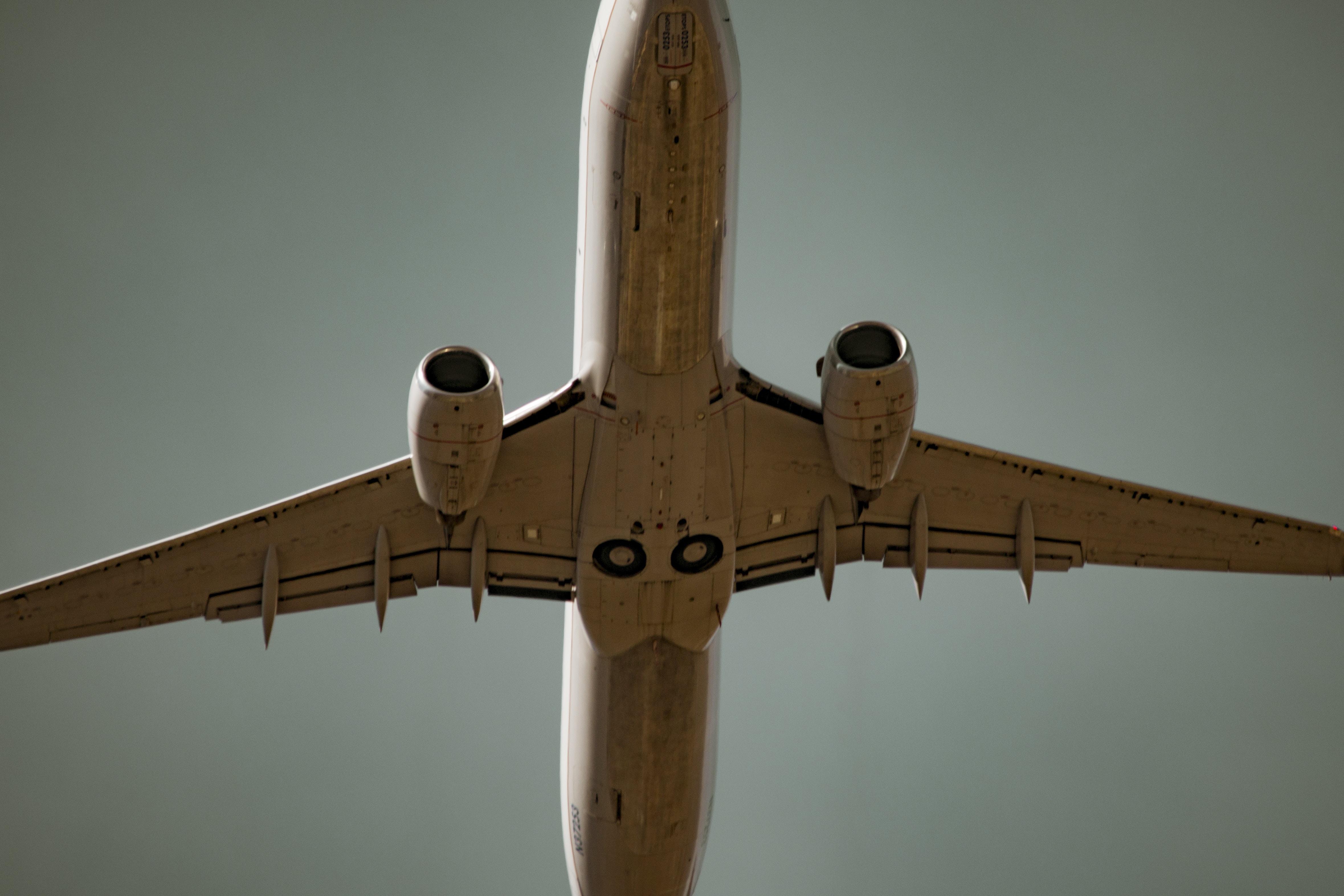 Underside of an airplane flying overhead
