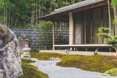 wooden house with glass sliding door beside trees at daytime zen garden zoom background