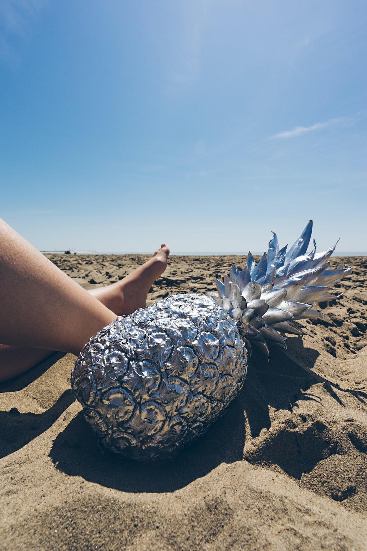 gray pineapple on brown sand