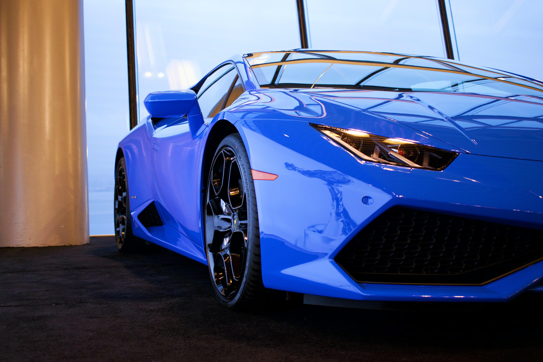A blue parked car.