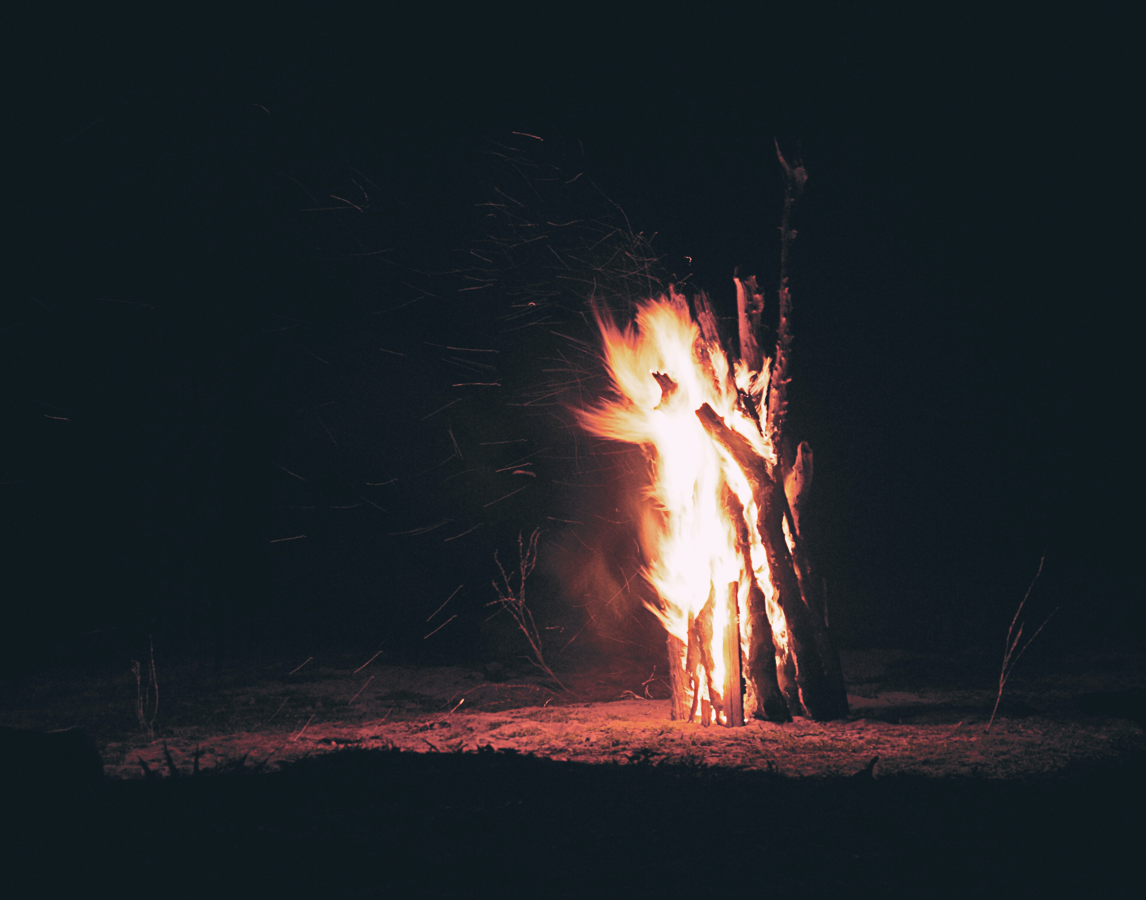 burning firewoods in the middle of deserted land
