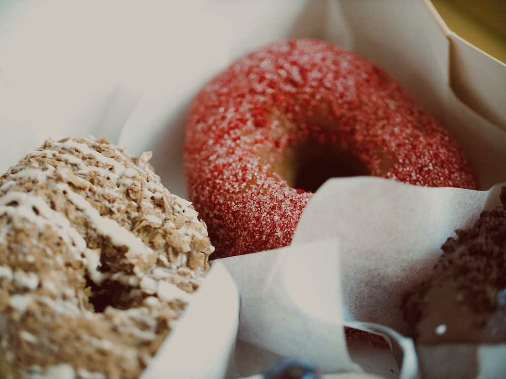 red and white doughnuts