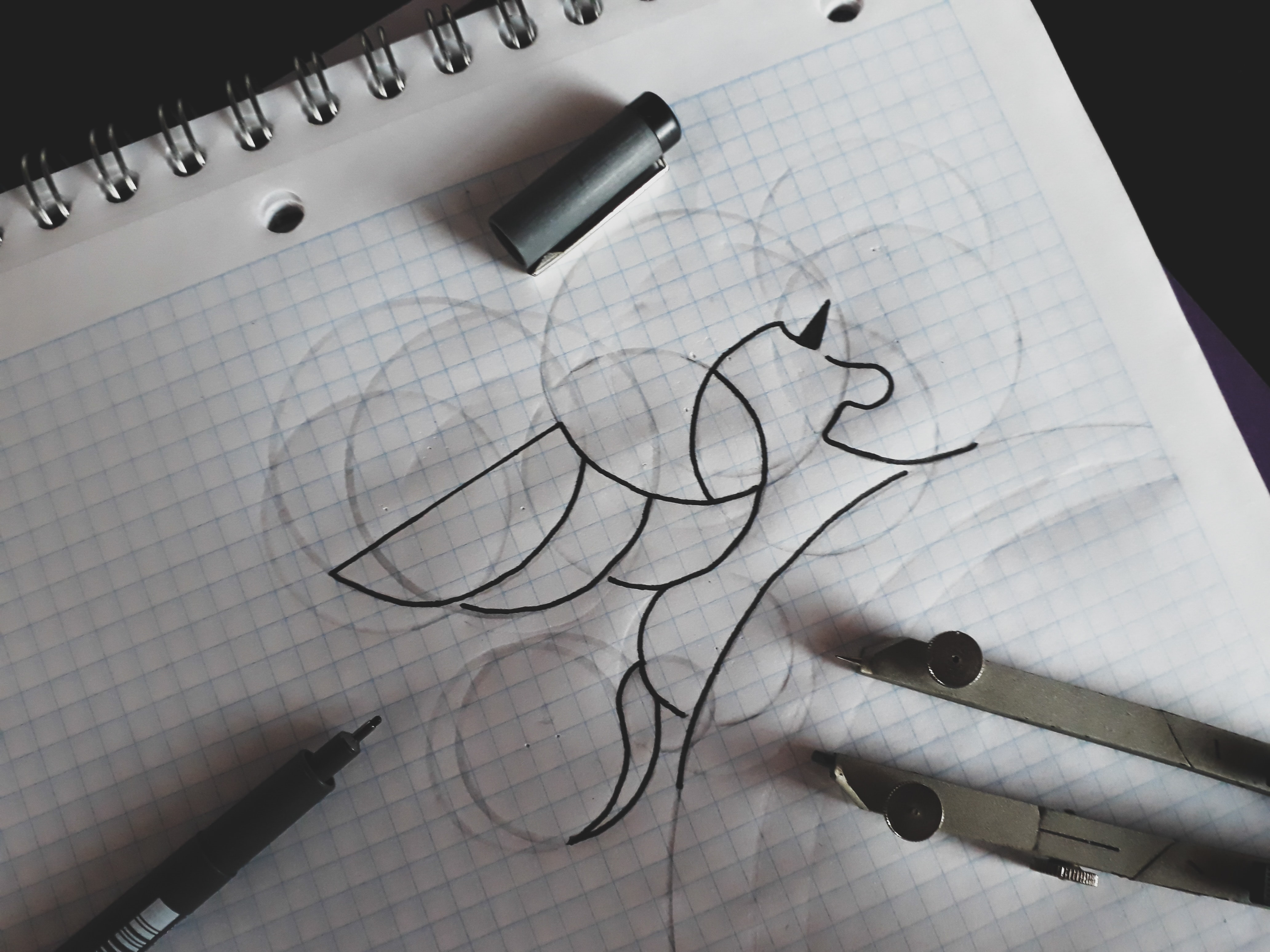 An abstract animal drawing with a black pen.
