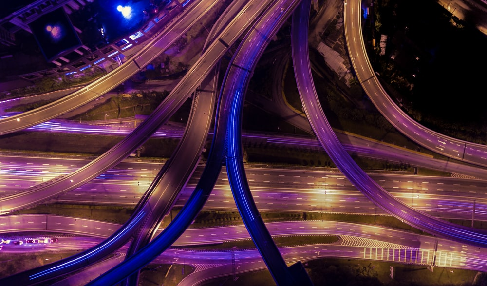 aerial photography of roads during nighttime
