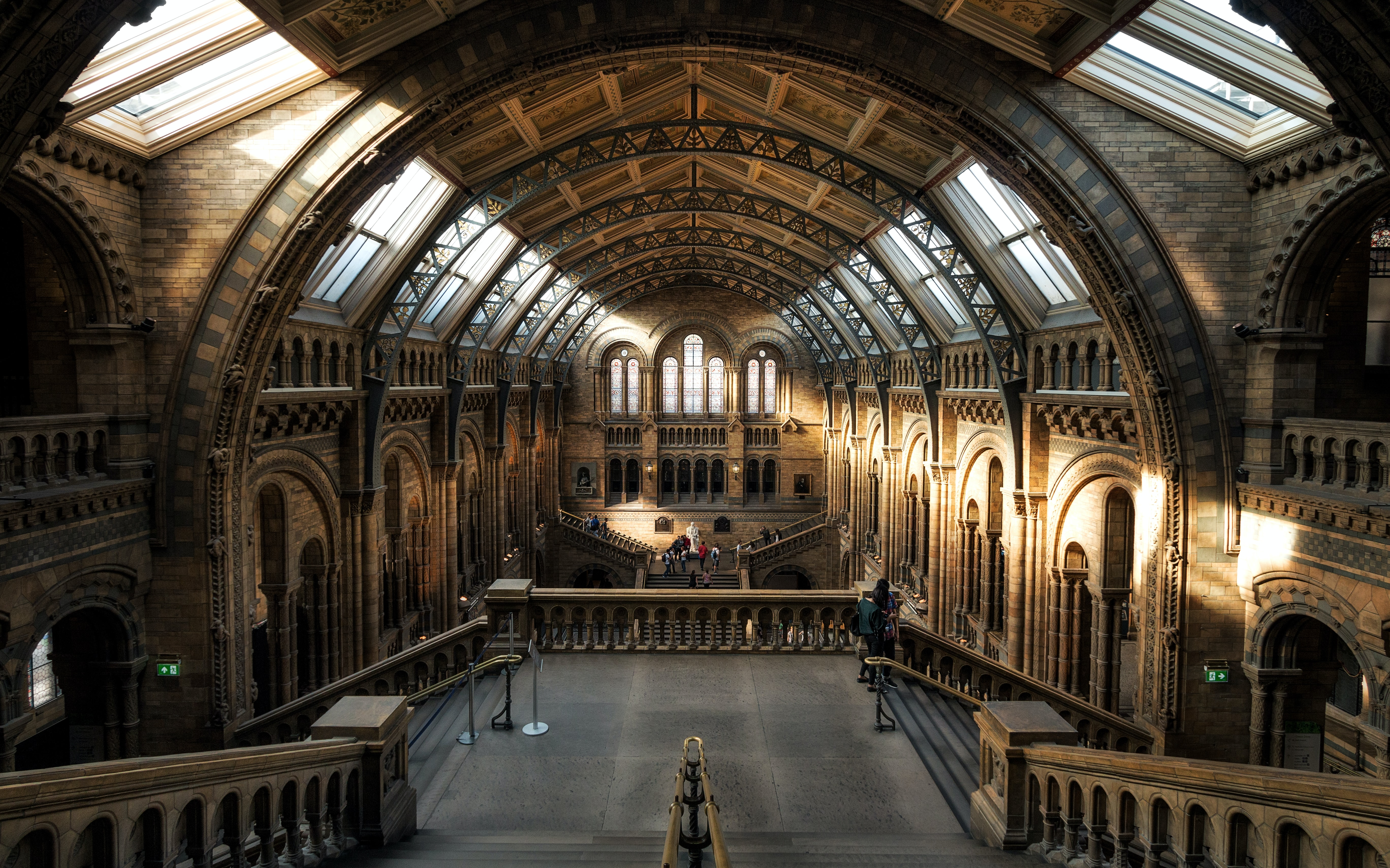 The vaulted hall in the Natural History Museum in London illuminated by the sun