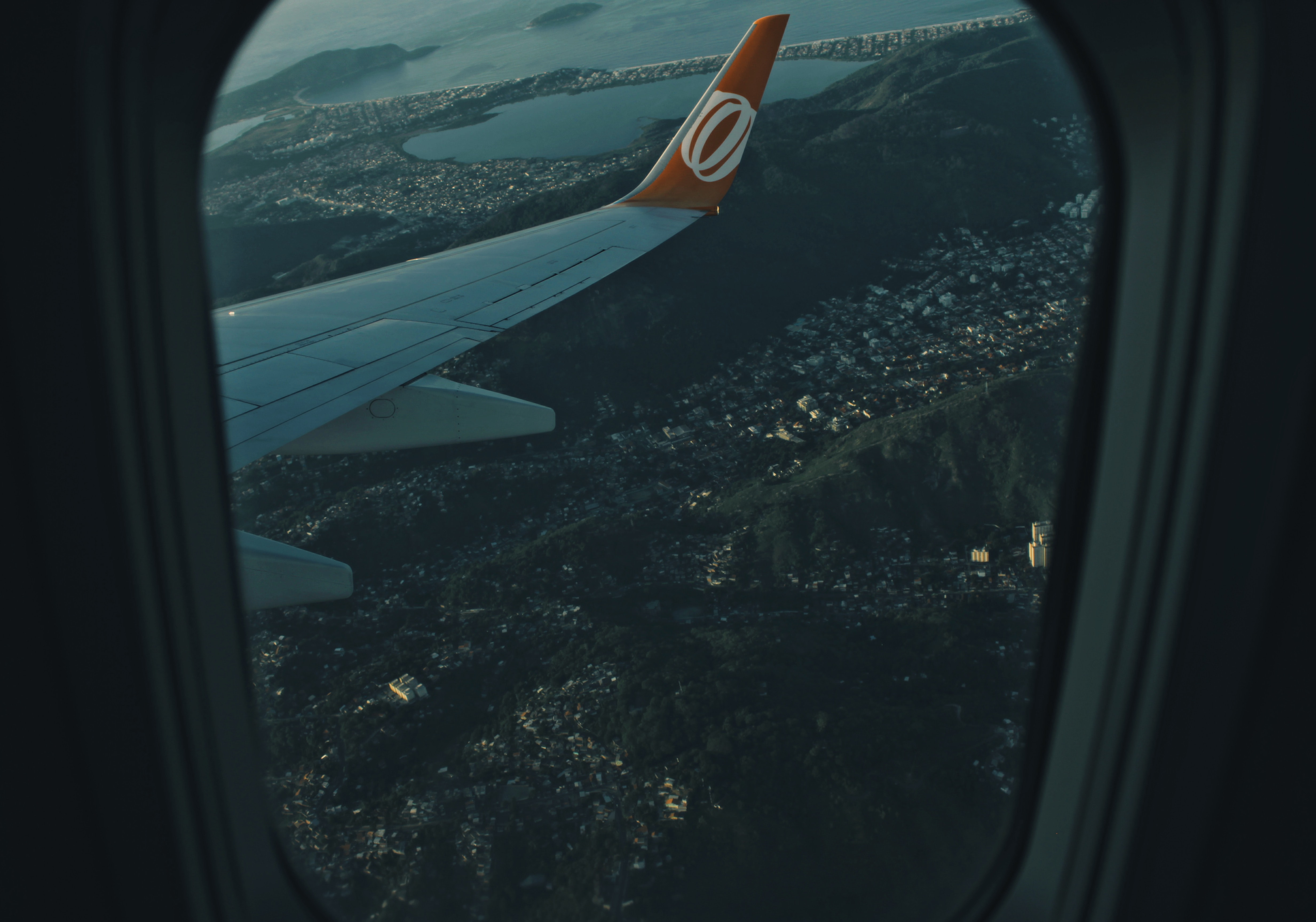 View from a plane window on the suburbs of Rio de Janeiro below