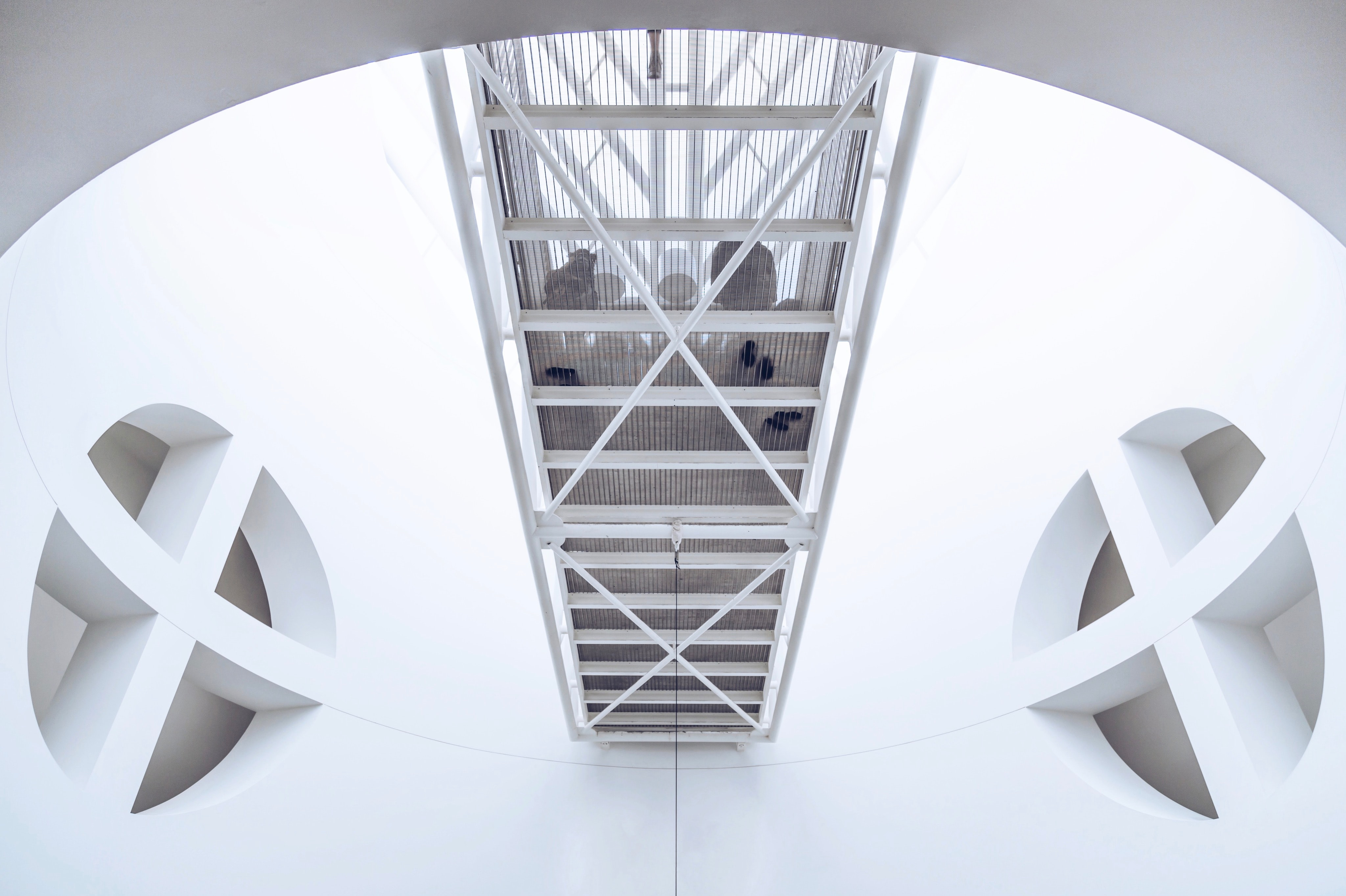Interior of San Francisco Museum of Modern Art architecture in circular white room with walkway