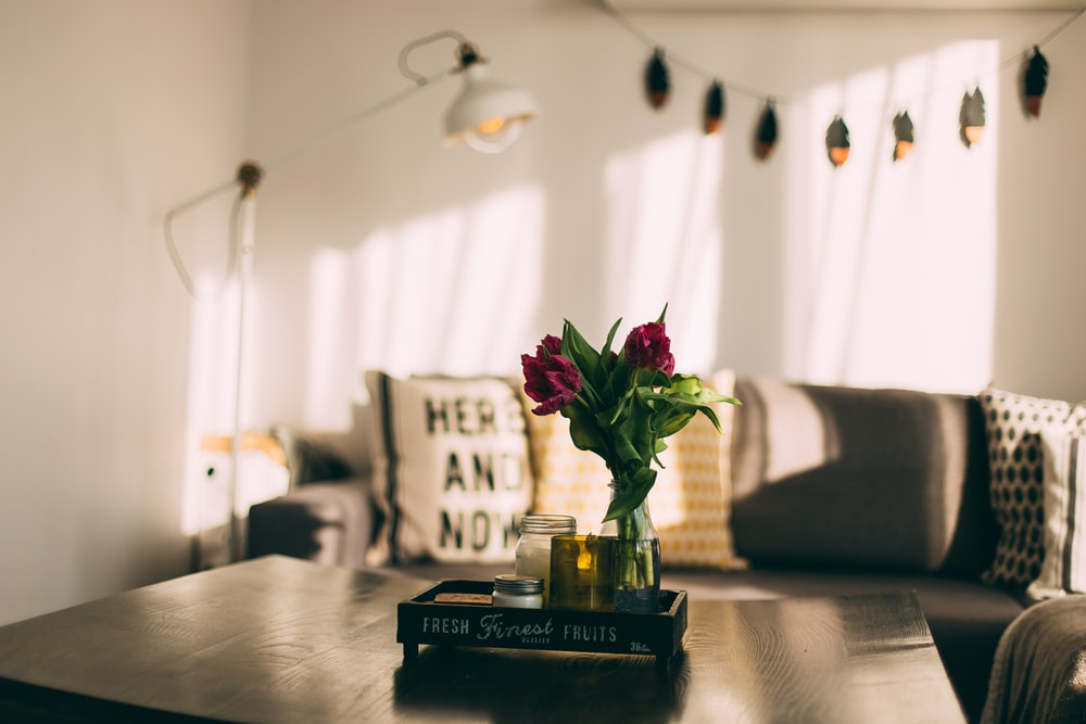 selective focus photography of two red petaled flowers in vase on coffee table in living room