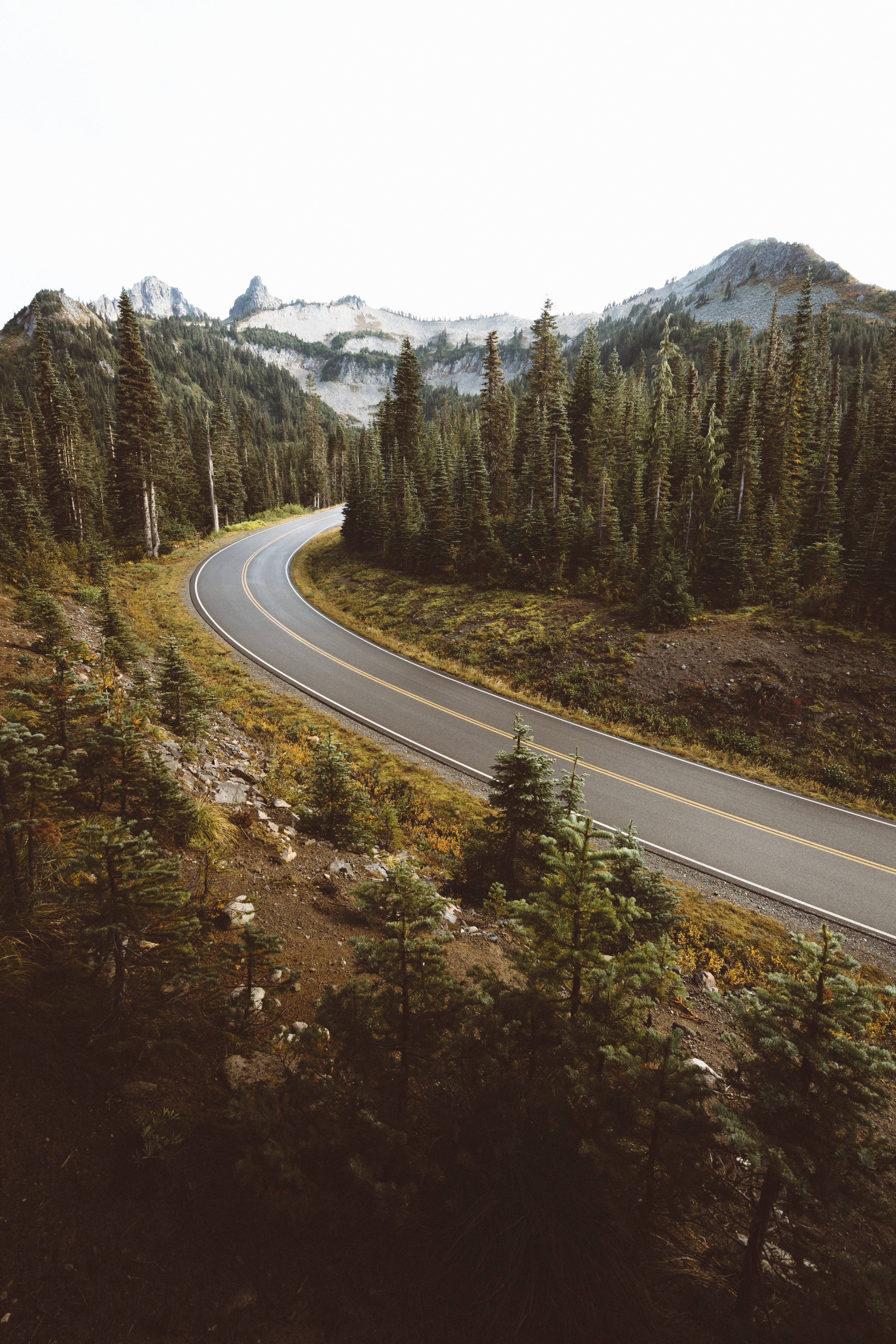 A curve in an asphalt road in the mountains