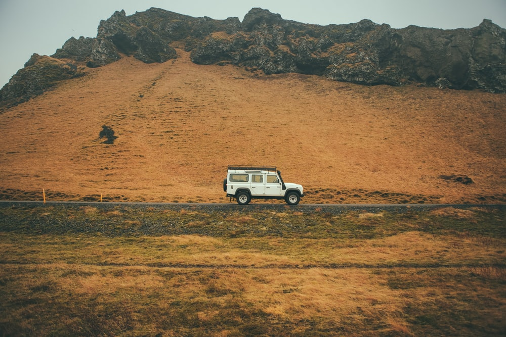SUV travelling in a deserted place