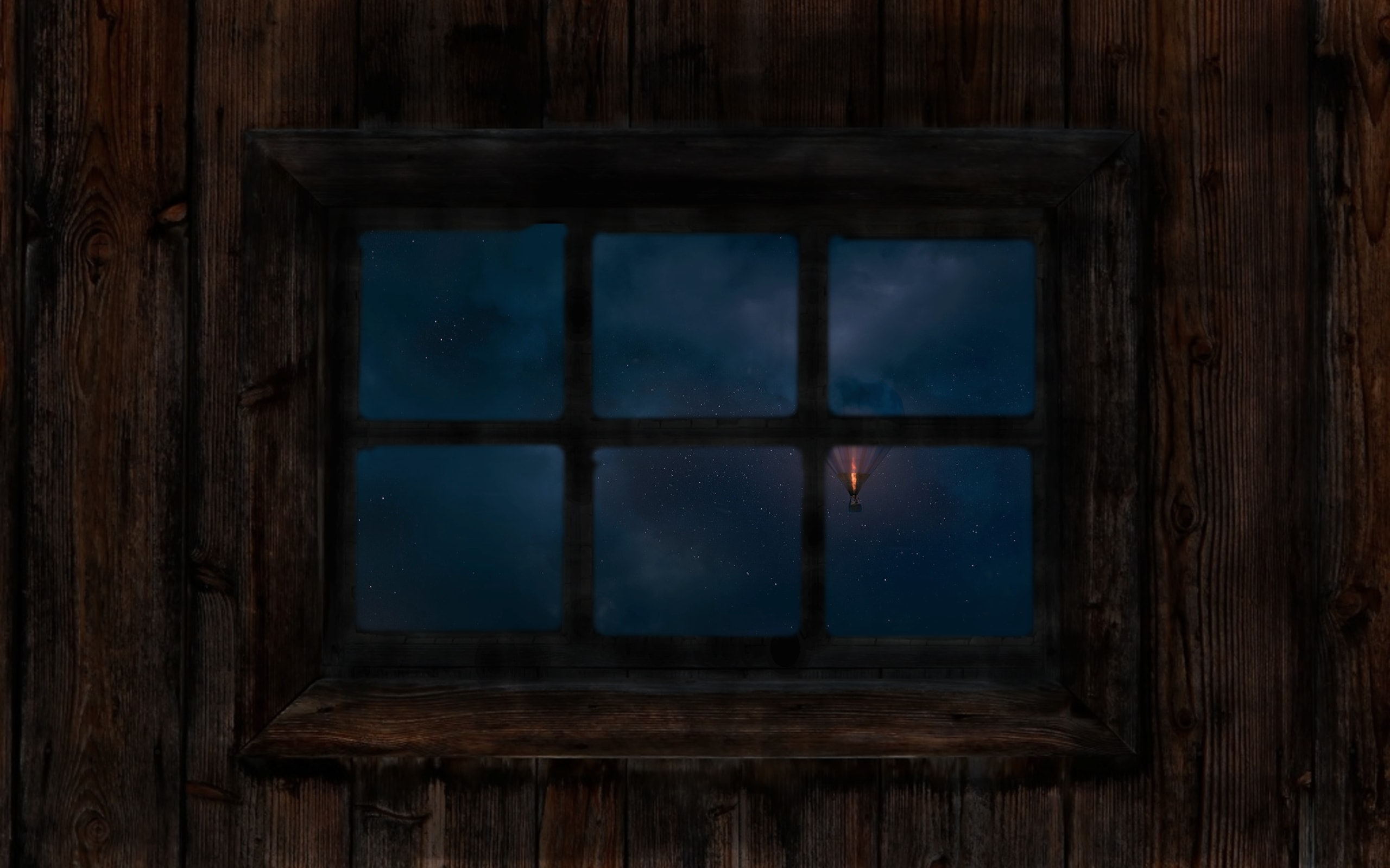 rectangular 6-pane window on brown wooden wall at nighttime