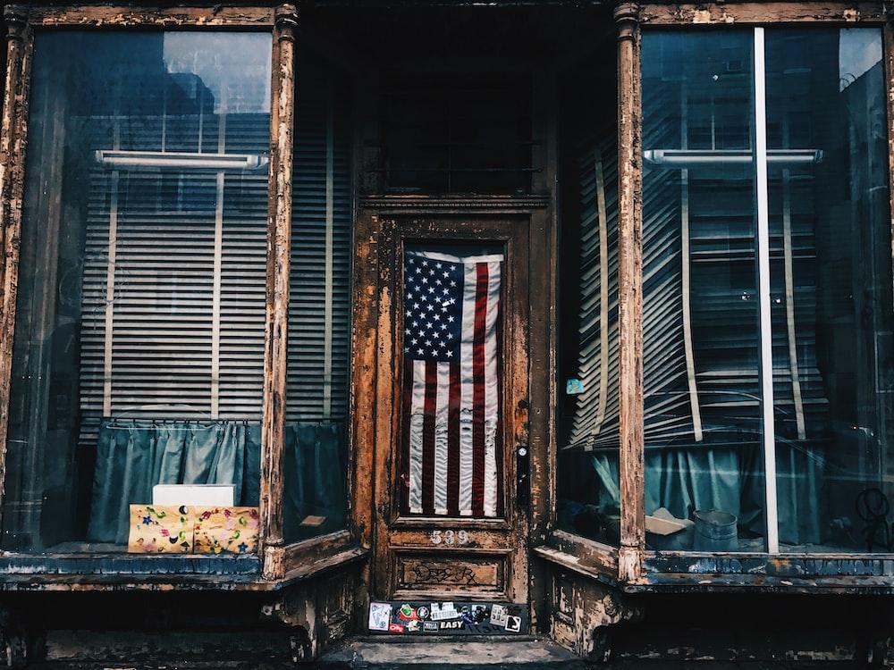 American flag in building