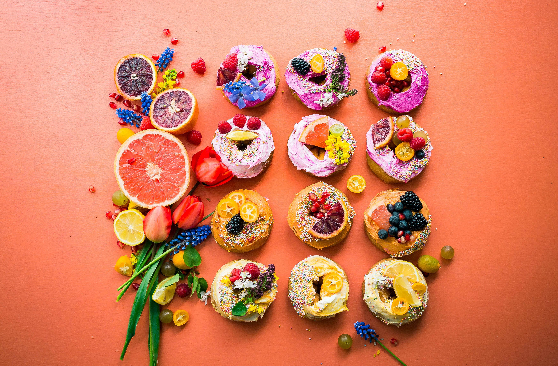 A colorful fruit arrangement.