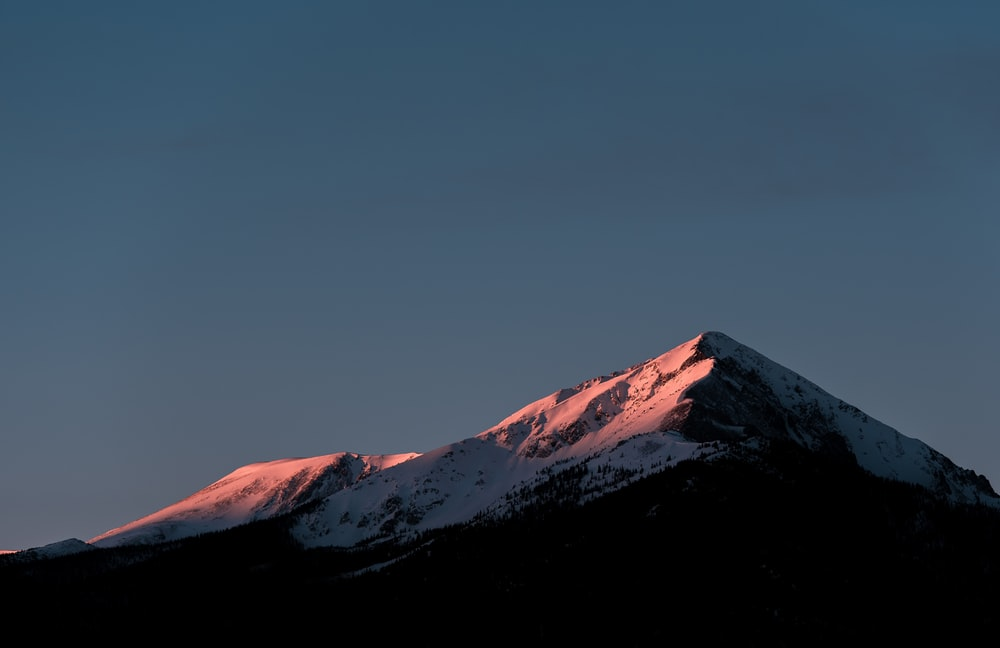 A Snowy Mountain With Long Wooded Slopes In Silverthorne During Sunset