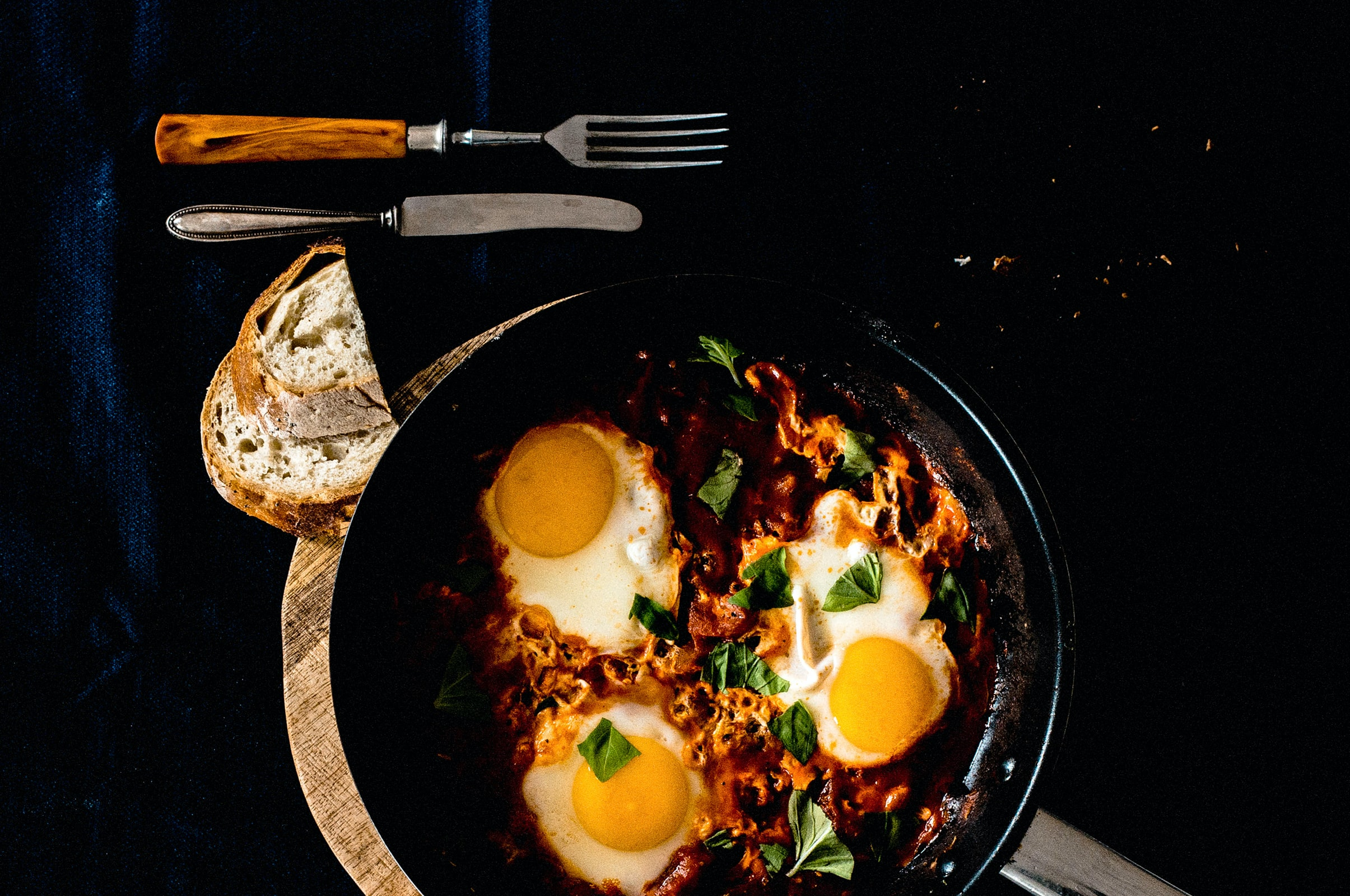 Middle eastern shakshuka in a cast iron skillet