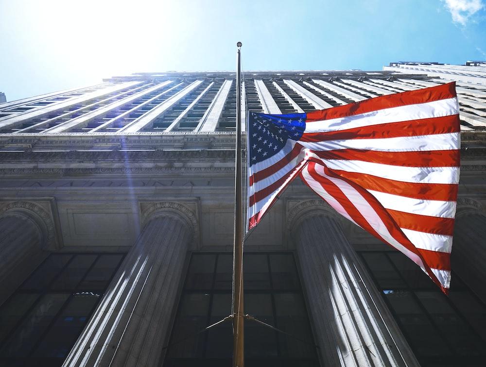 US flag waving on pole