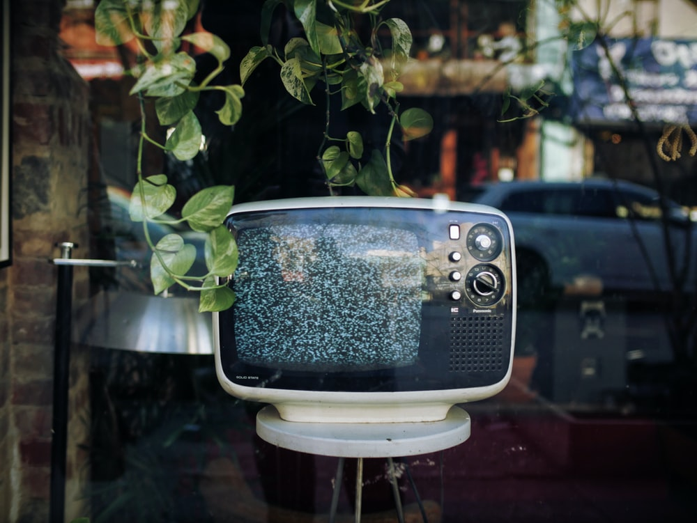 vintage white and black television