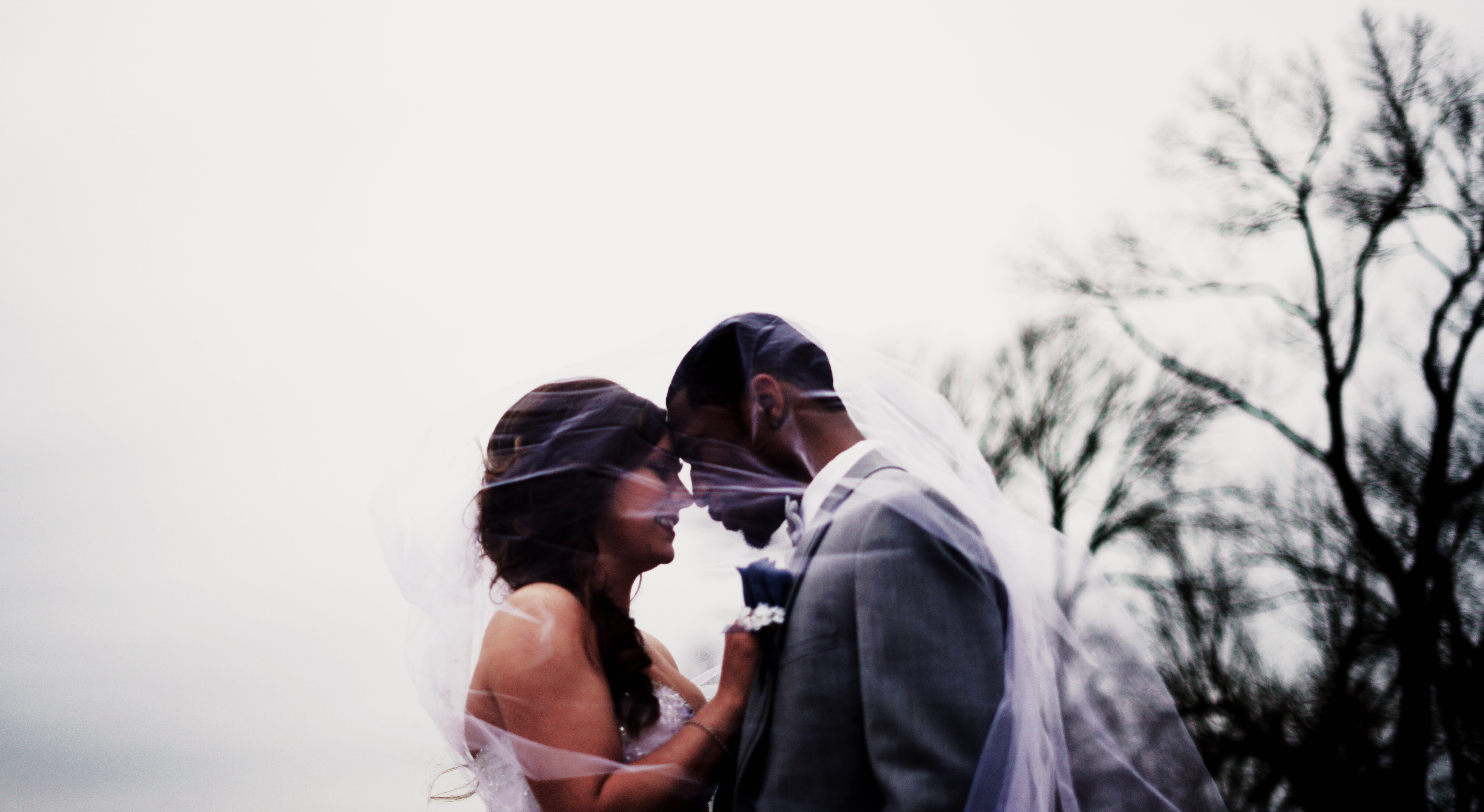 Bride and groom stand under the veil outside