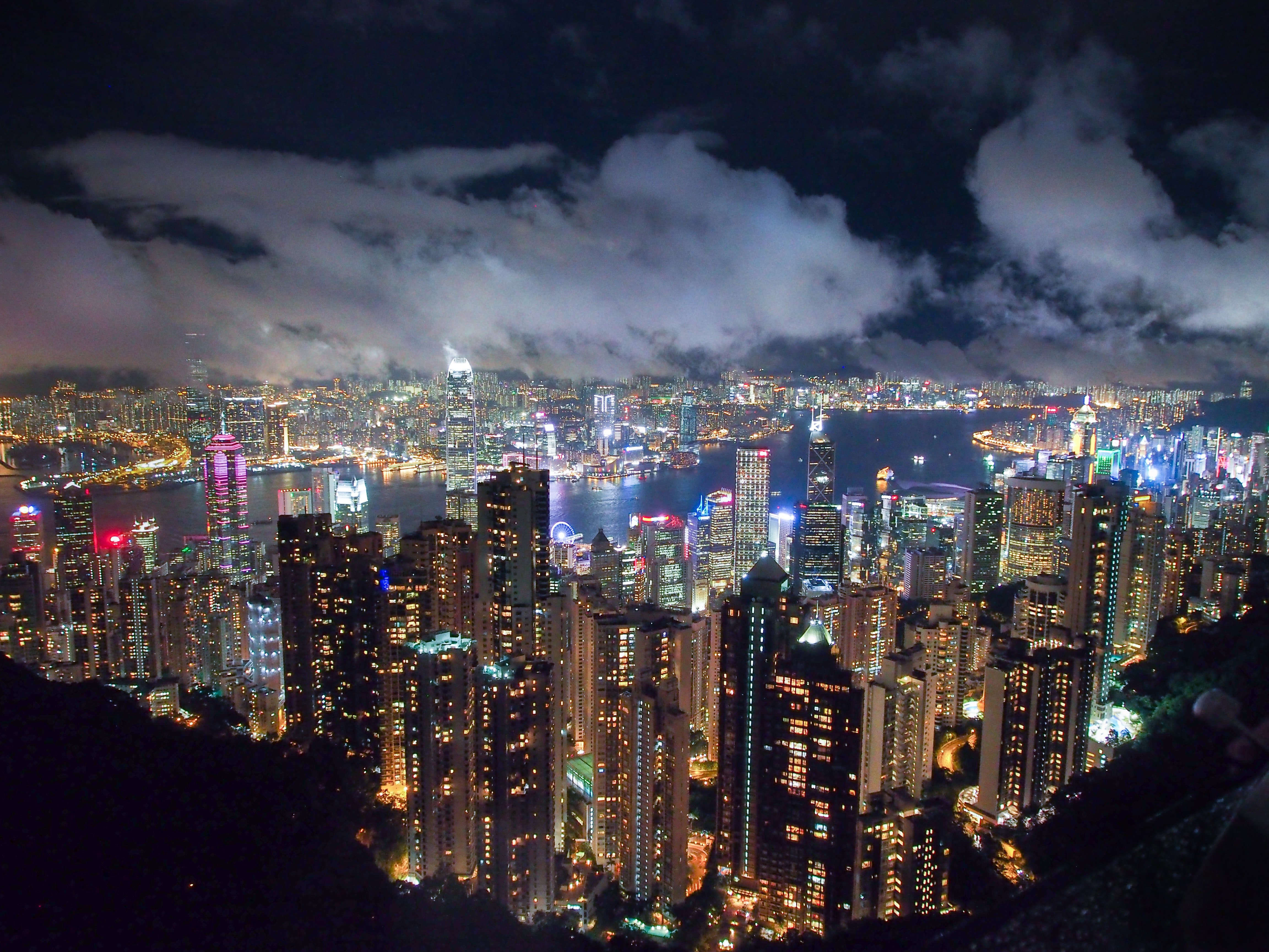 The intensely bright skyline of Hong Kong at night