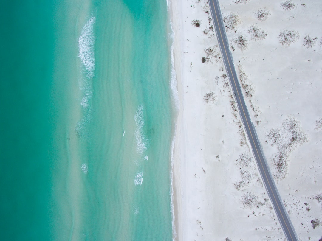 Drone view of road on beach
