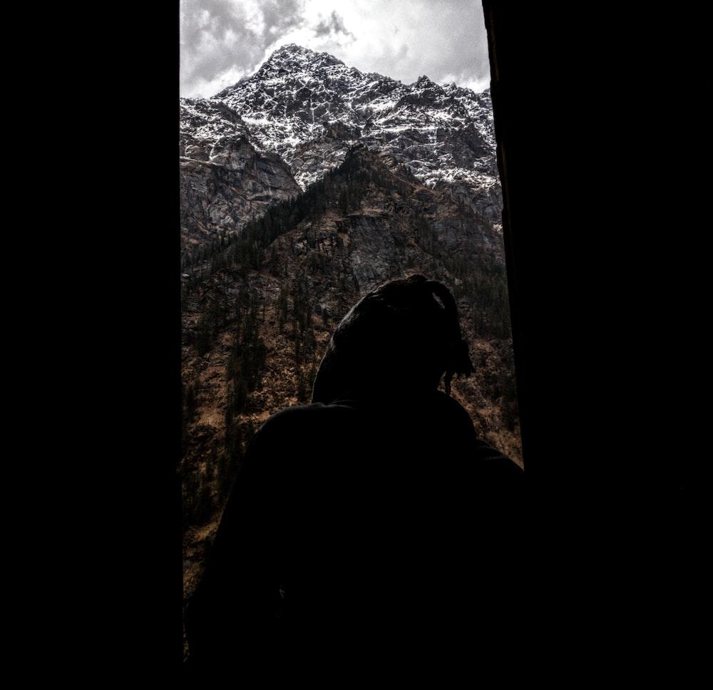 mountain covered under dark sky