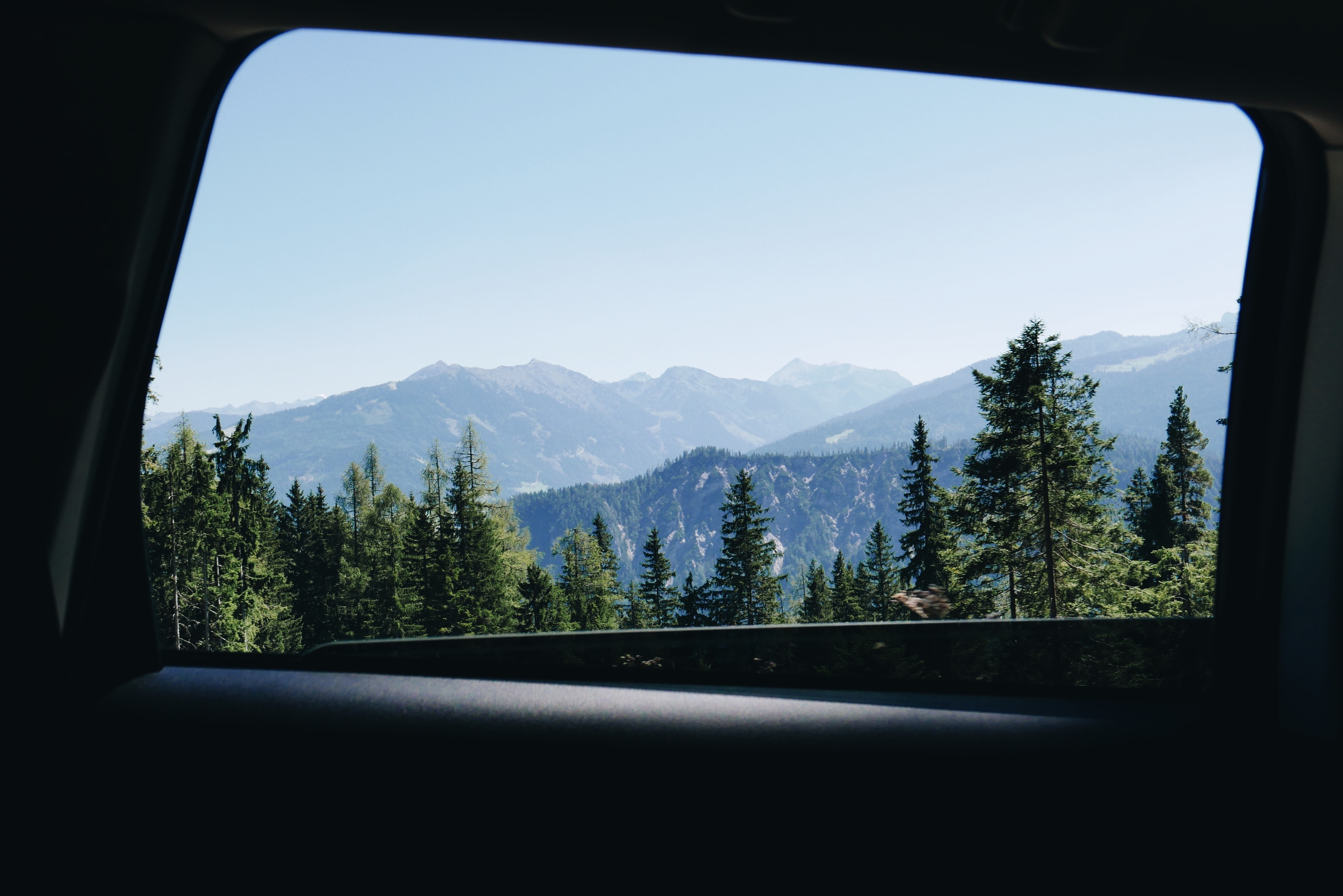 View from a car window on wooded slopes on a sunny day