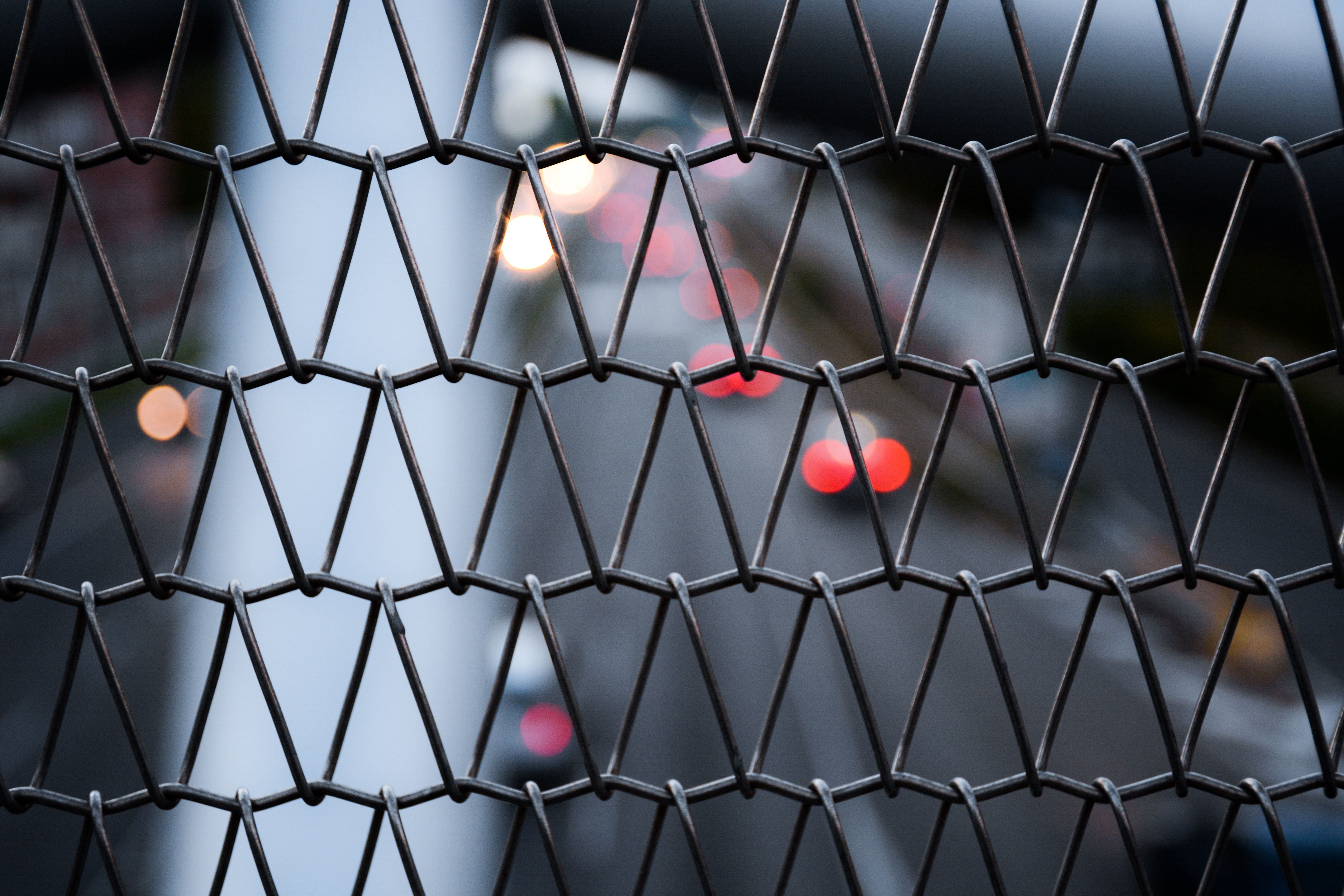 gray wire fence macro photography