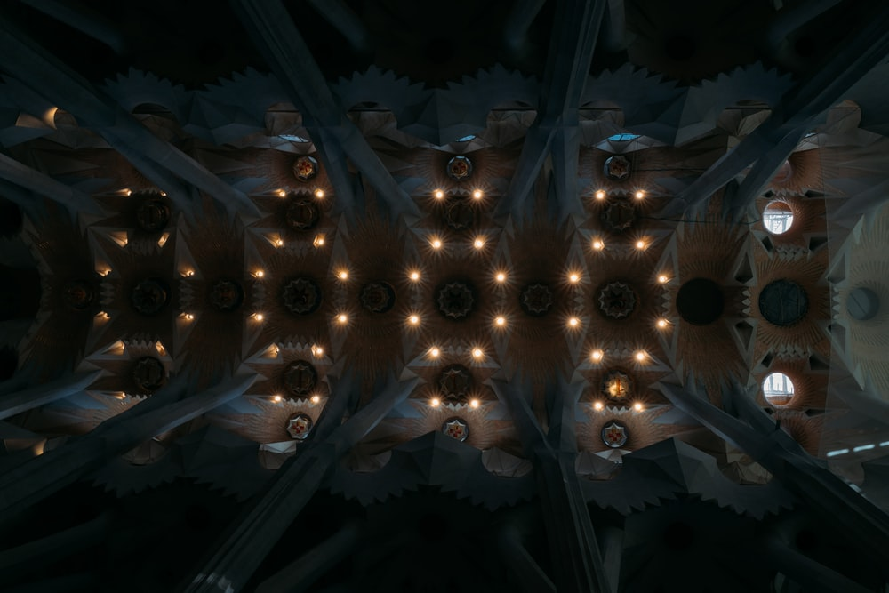 white and brown lighted concrete cathedral ceiling