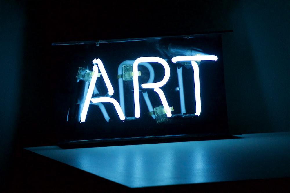blue Art neon sign turned on
