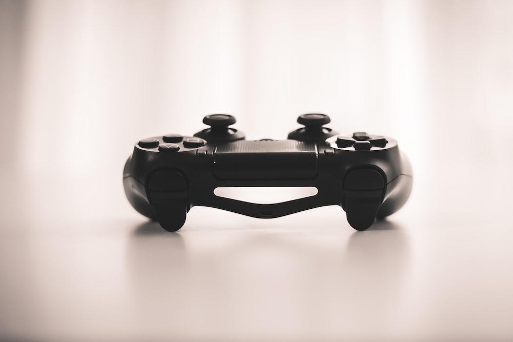 black wireless game controller