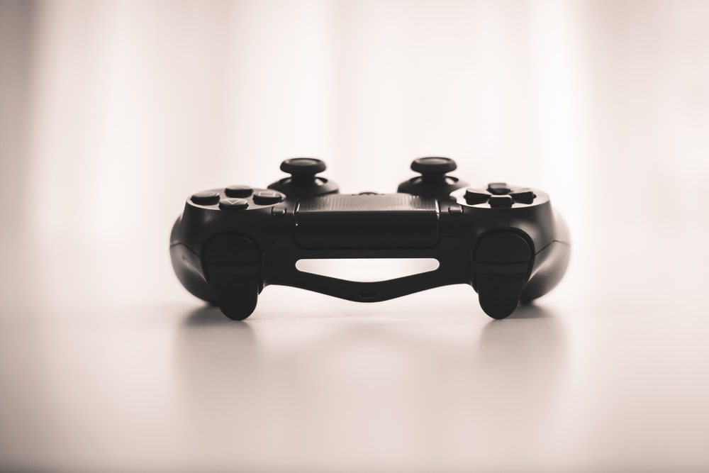 black wireless game controller