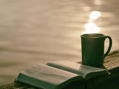 green ceramic mug beside book morning teams background