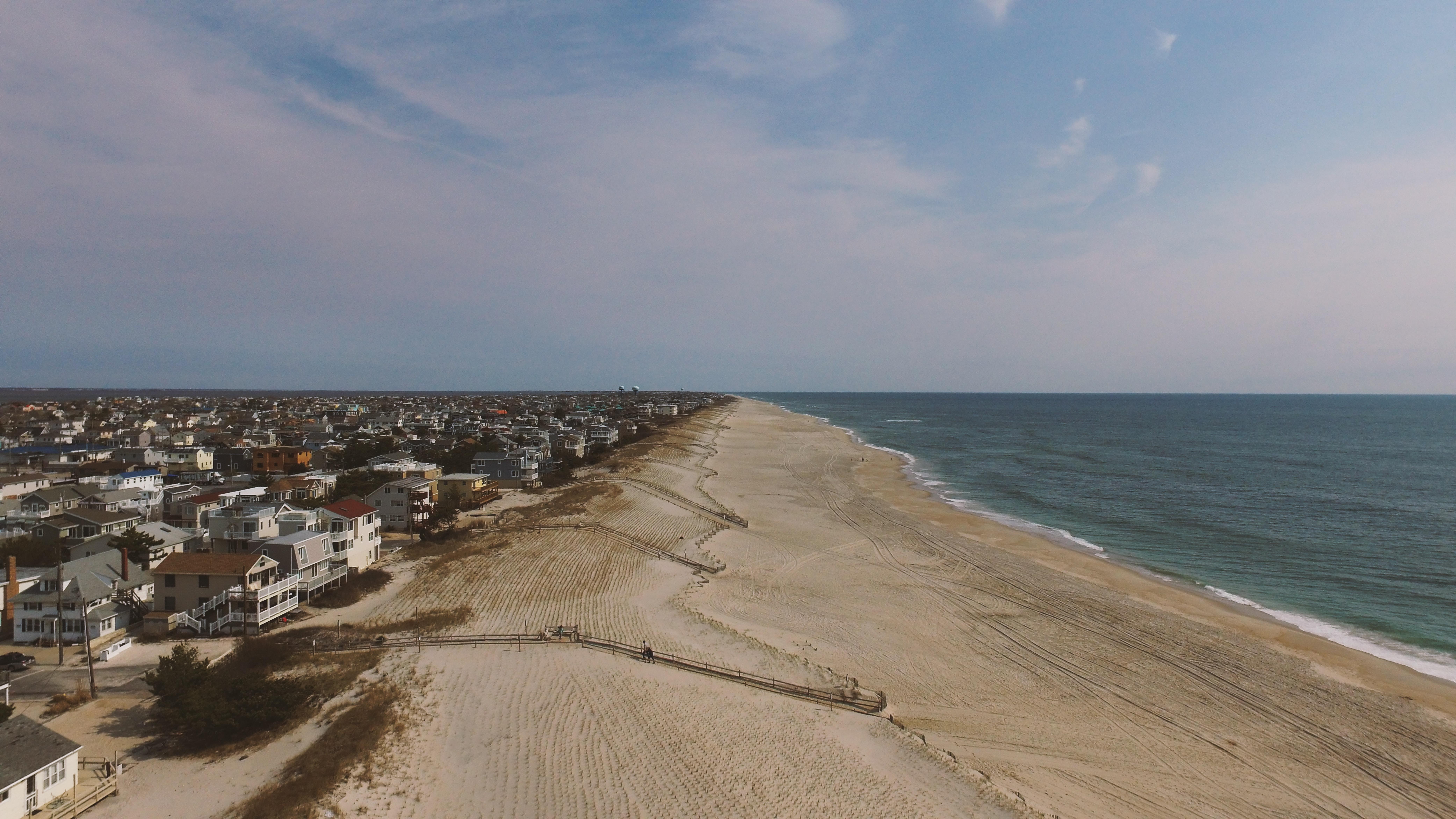 Coastline town on an ocean sand shore