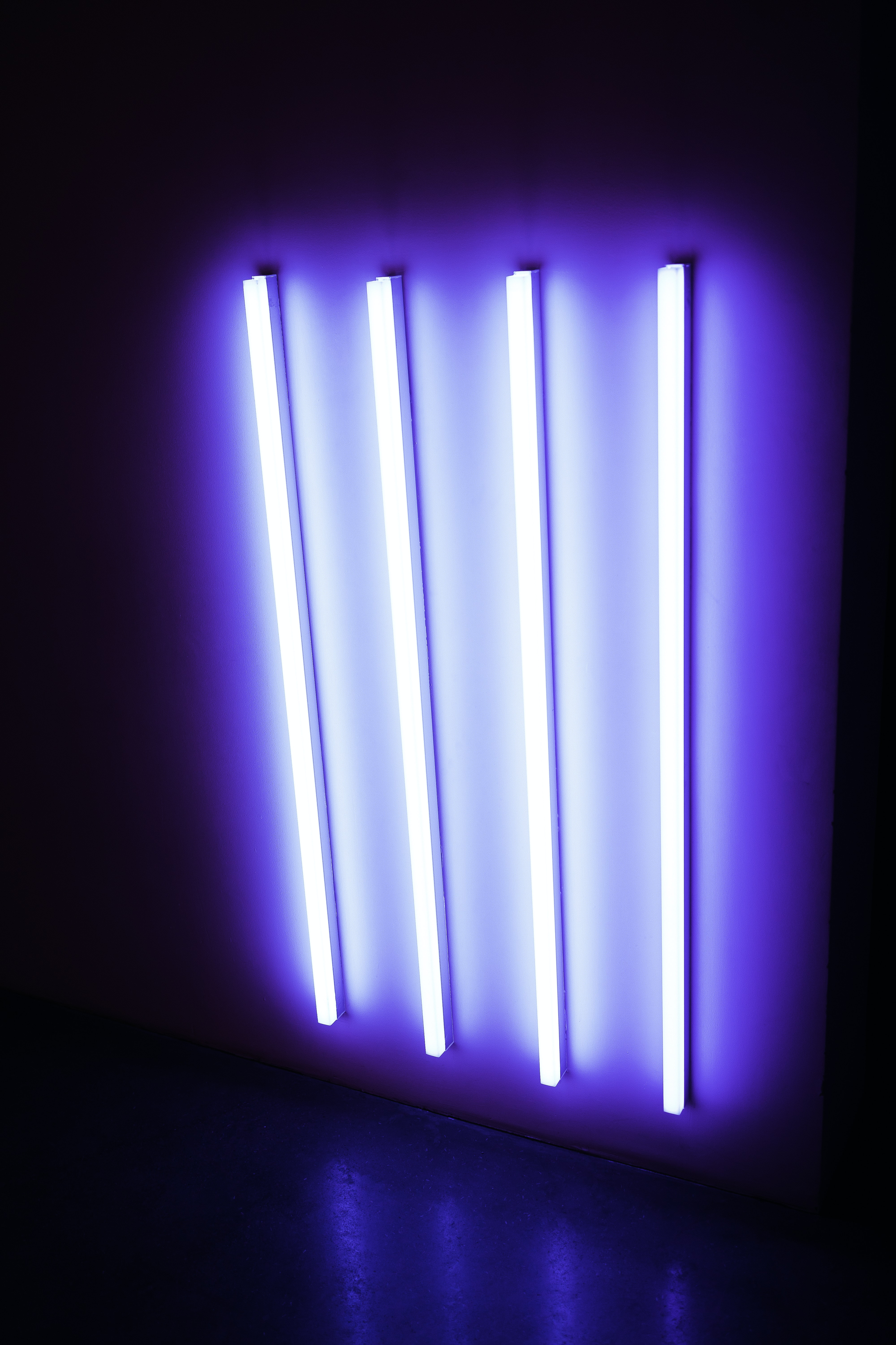 four UV fluorescent lamps turned on