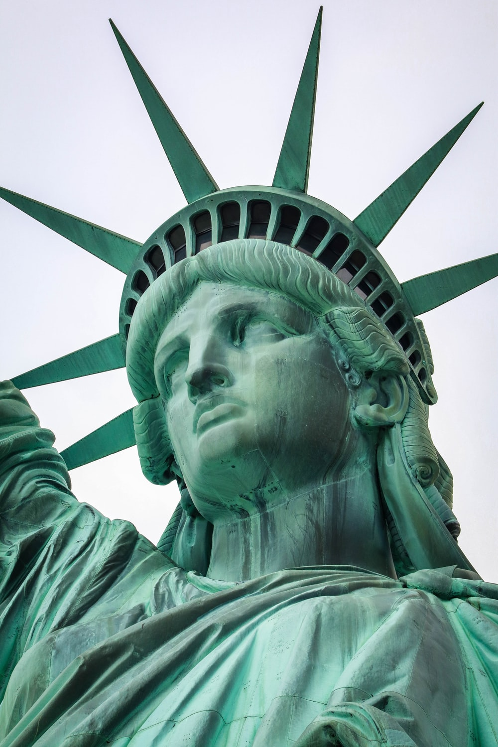 Green details on the Statue of Liberty's head and crown