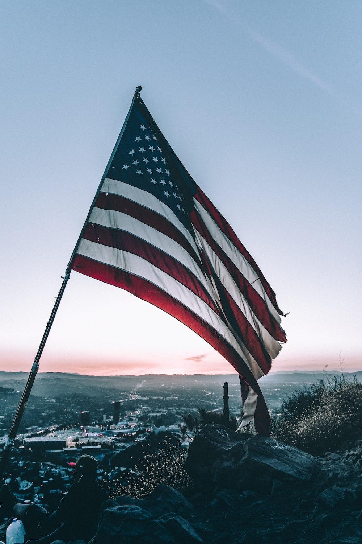 American flag on mountain