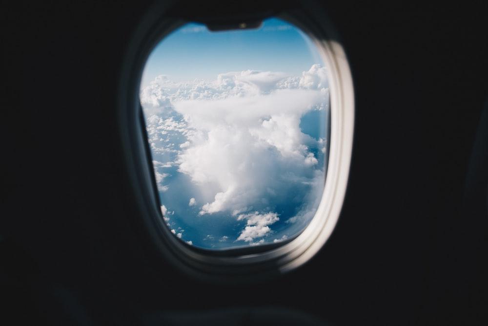 opened airplane window