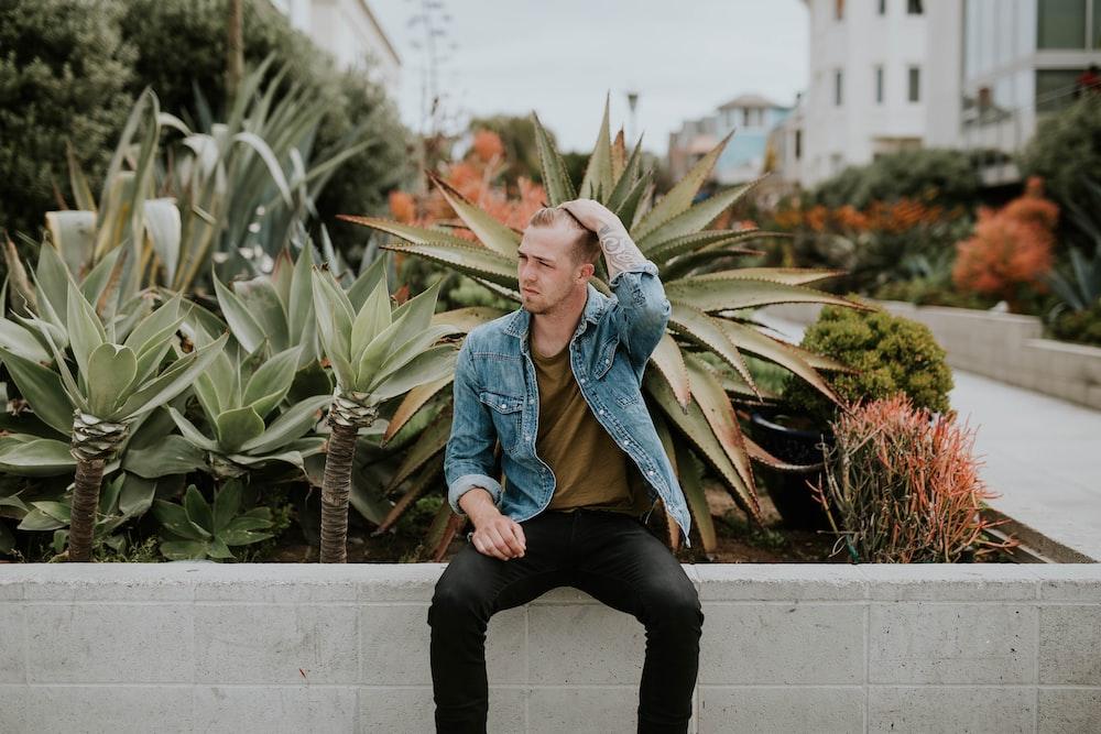 man sitting near plants