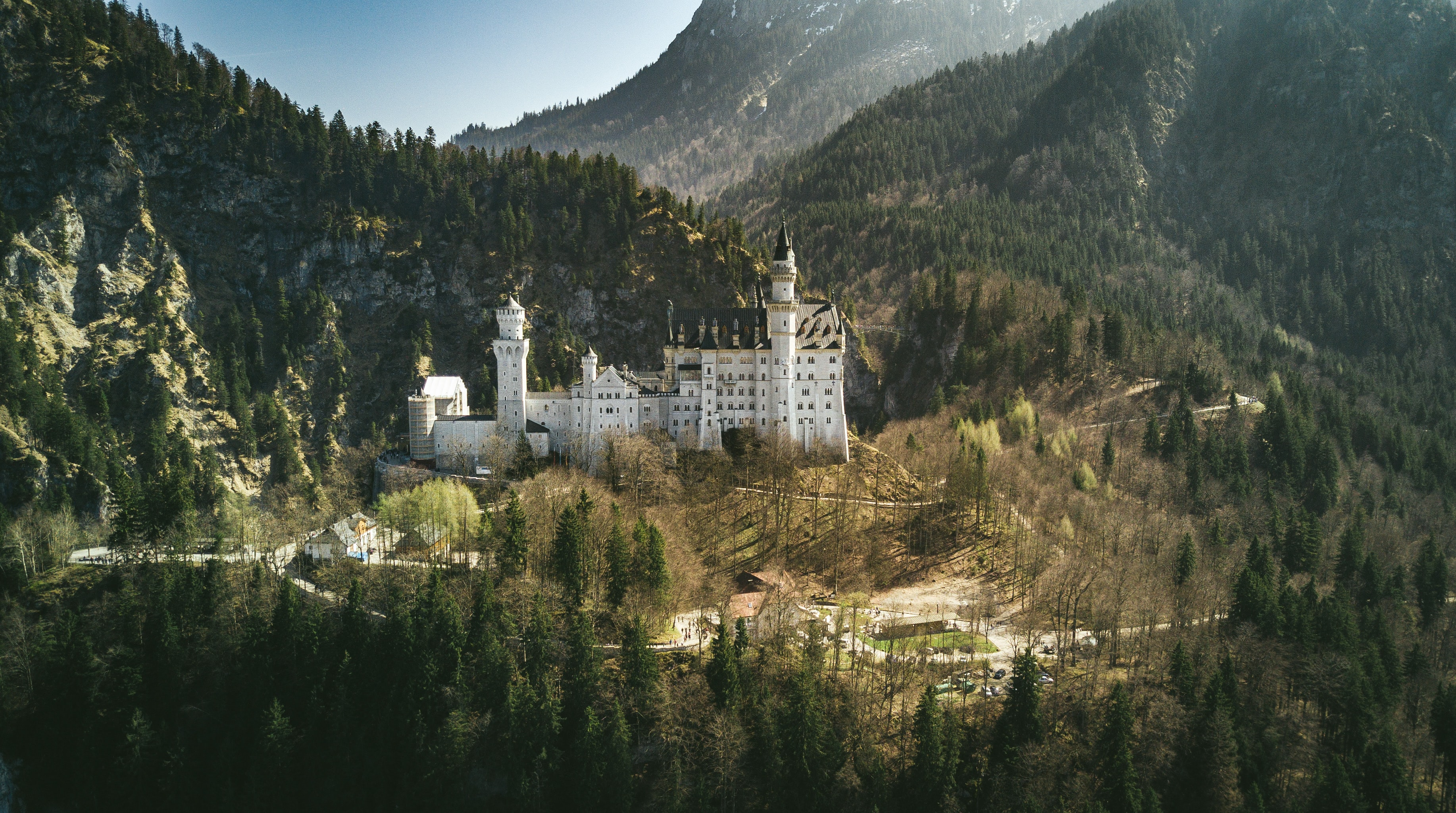 View of the magnificent Neuschwanstein Castle on a sunny day