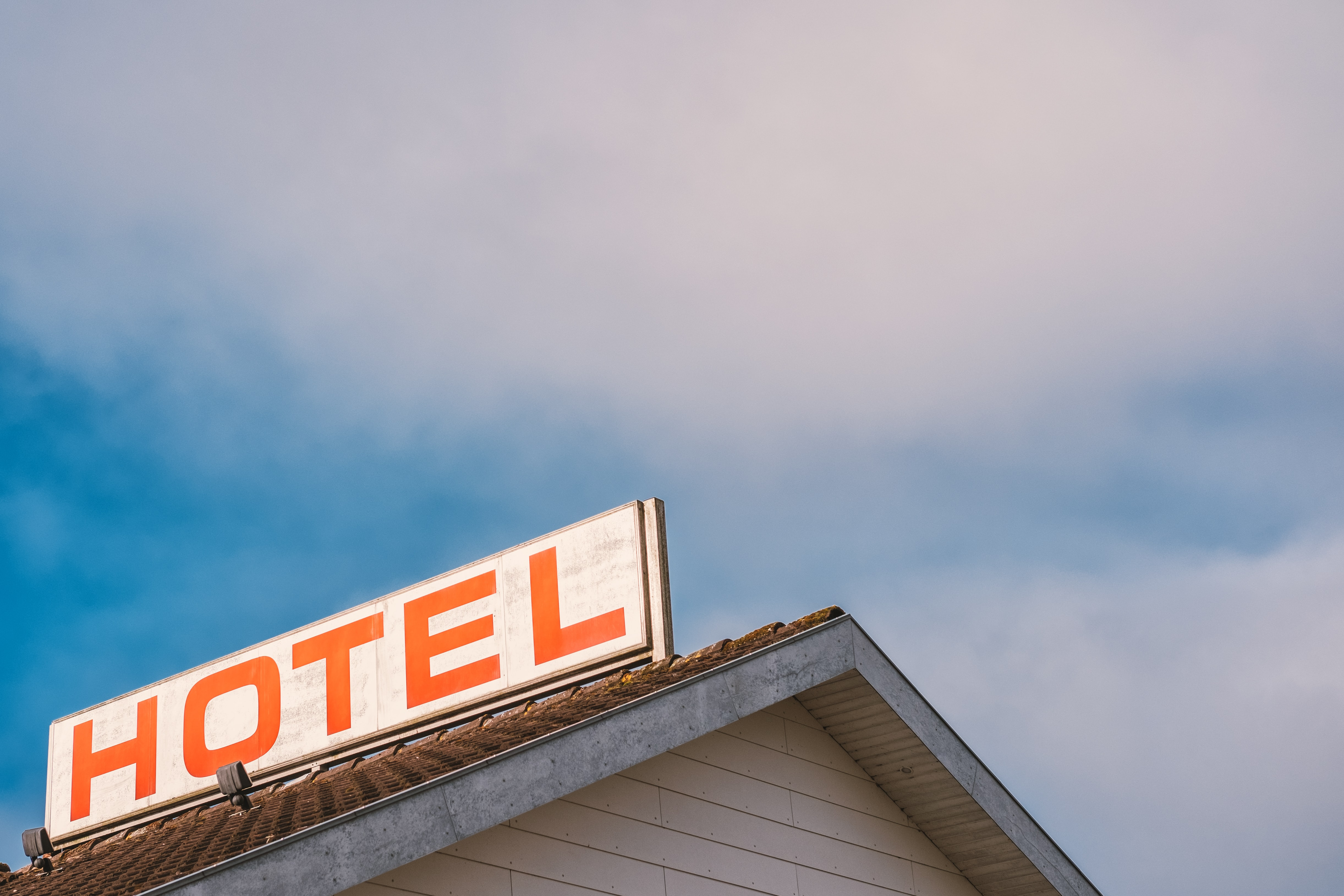 Hotel signboard on roof