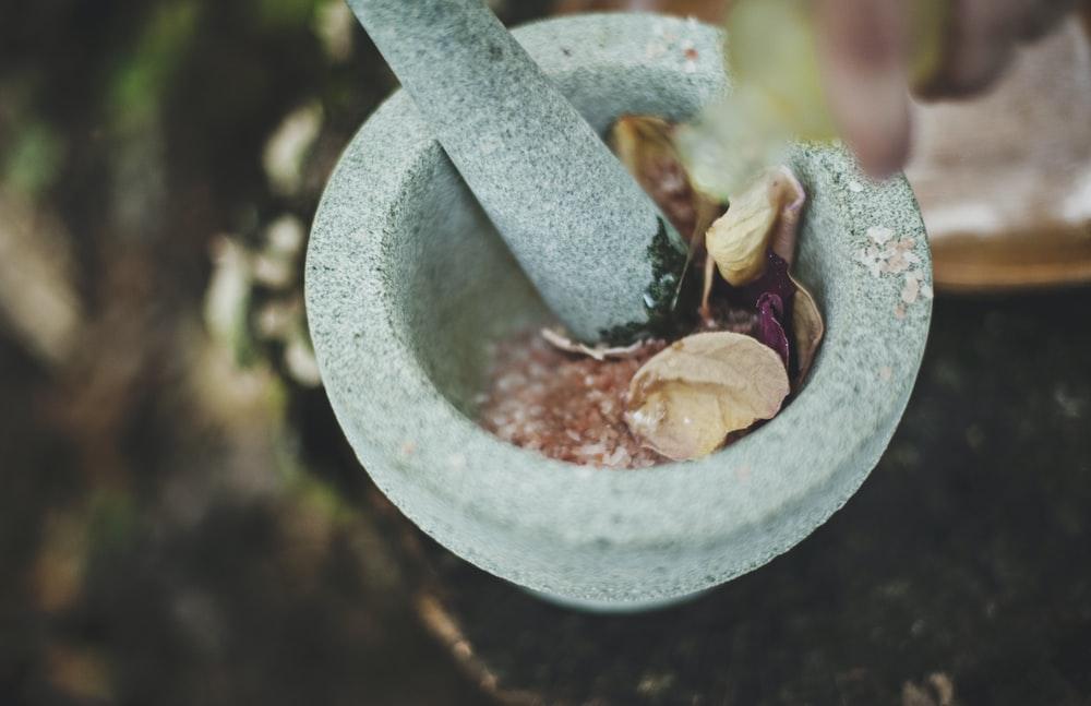gray ceramic mortar and pestle