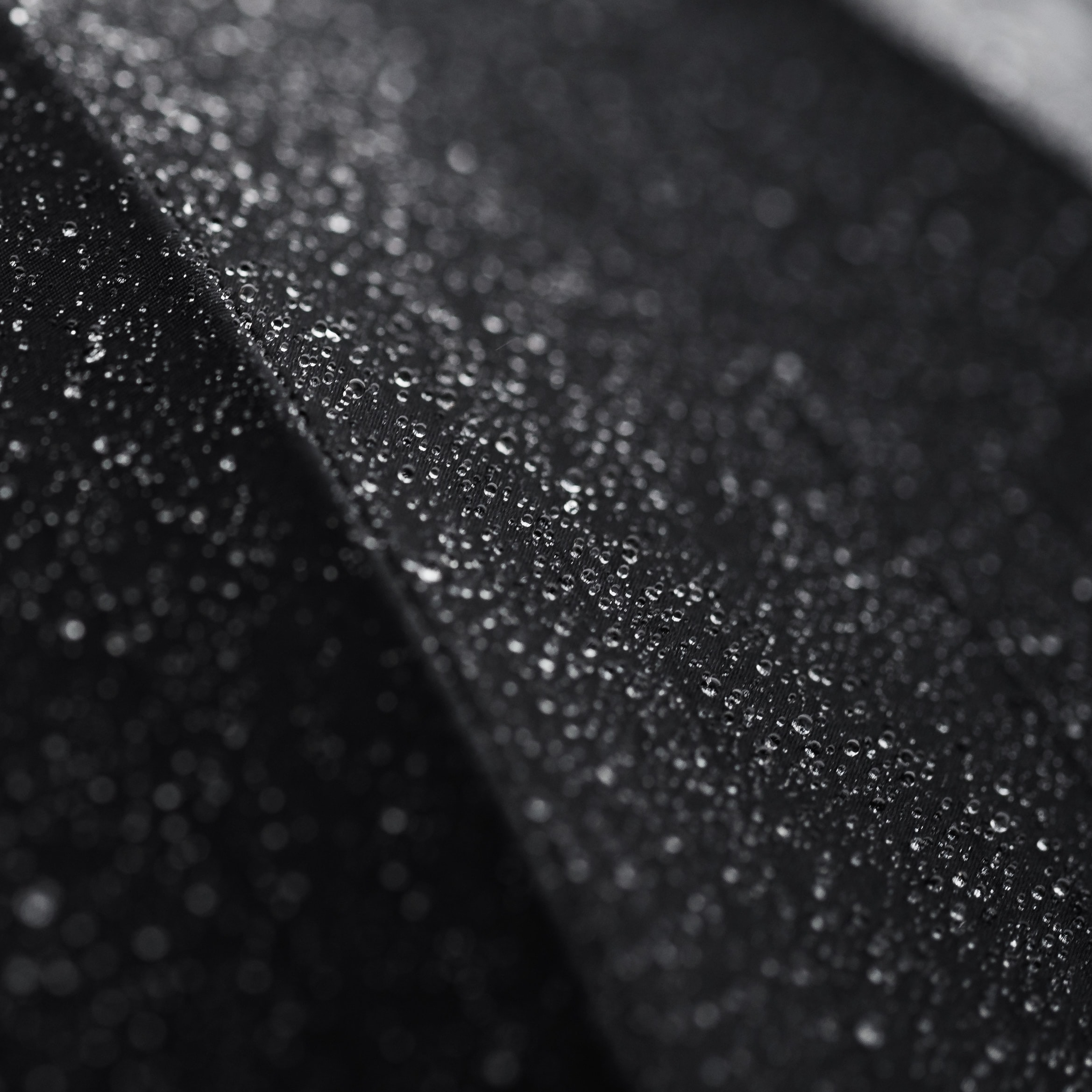 Macro shot of tiny droplets of water on a black surface