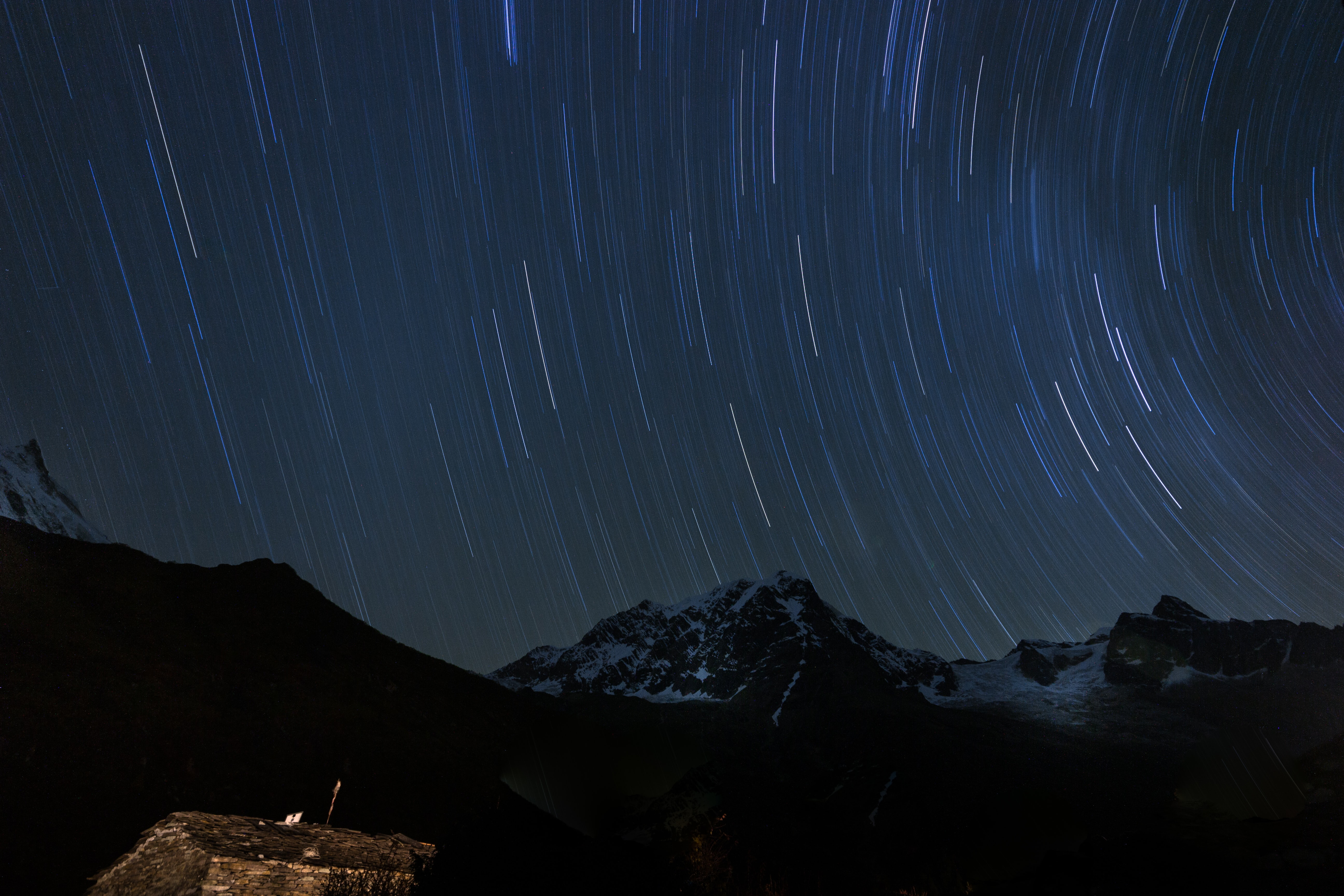 mountains under starry night