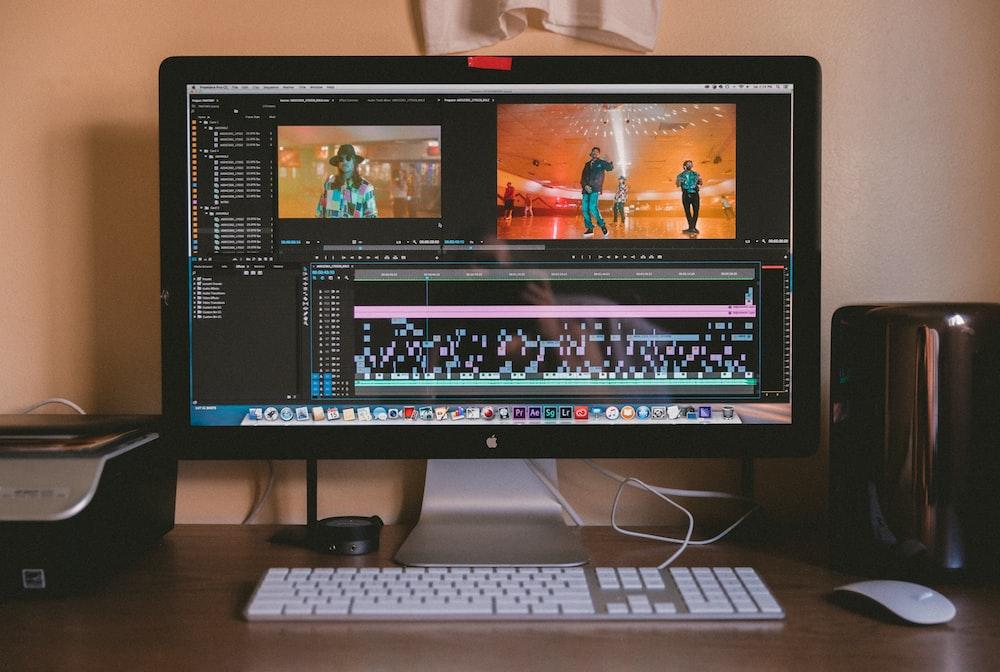 turned-on iMac screen