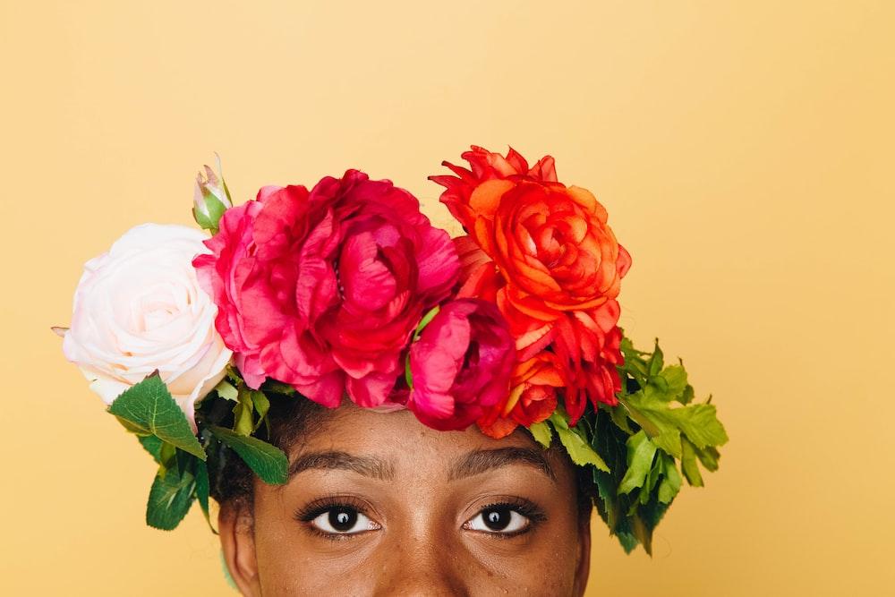 girl wearing flower headband