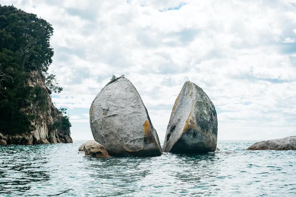gray rock cut in half