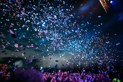 people partying with confetti celebration zoom background