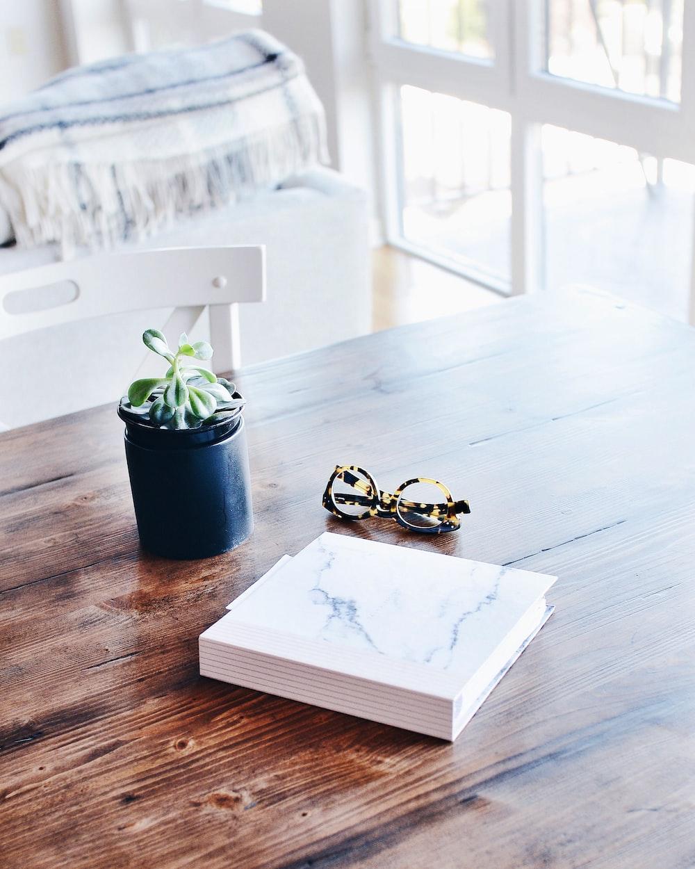 hardbound book beside eyeglasses and succulent plant on table inside room